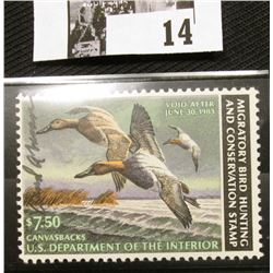 1982 U.S. Department of the Interior Migratory Bird Hunting Stamp, RW#49, OG, not hinged, VF, Signed