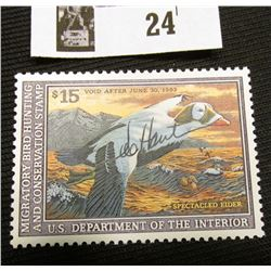 1992 U.S. Department of the Interior Migratory Bird Hunting Stamp, RW#59, OG, not hinged, VF-EF, Sig
