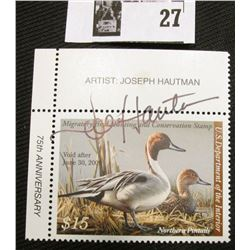 2008 U.S. Department of the Interior Migratory Bird Hunting Stamp, RW#75, OG, not hinged, VF, Signed