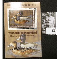2007 U.S. Department of the Interior Migratory Bird Hunting Stamp, RW#74B, Pane, not hinged, EF, Sig
