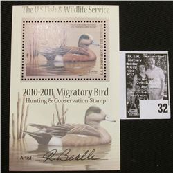 2010 U.S. Department of the Interior Migratory Bird Hunting Stamp, RW#77B, Pane, not hinged, EF, Sig