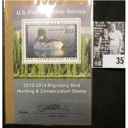 2013 U.S. Department of the Interior Migratory Bird Hunting Stamp, RW#80B, Pane, not hinged, EF, Sig