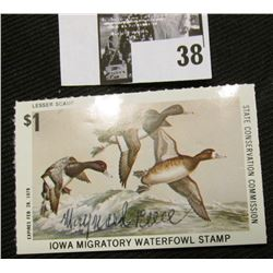 "1977 Iowa State Conservation Commission Migratory Waterfowl Stamp, Signed by the Artist ""Maynard Ree"