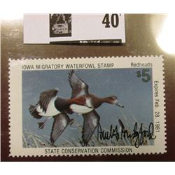 "1980 Iowa State Conservation Commission Migratory Waterfowl Stamp, VF, NH, Signed by the Artist ""Pau"