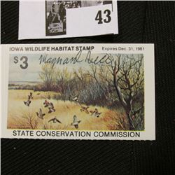 "1981 Iowa State Conservation Commission Iowa Wildlife Habitat Stamp, VF, NH, Signed by the Artist ""M"