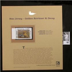 2006 New Jersey Waterfowl $5 Stamp depicting Golden Retriever and decoy, Pristine Mint condition in