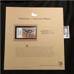 2006 Oklahoma Waterfowl $10.00 Stamp depicting American Widgeon Ducks, Pristine Mint condition in pl