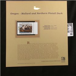 2006 Oregon Waterfowl Conservation $7.50 Stamp depicting Mallard and Northern Pintail Ducks, Pristin