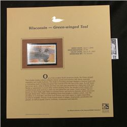 2006 Wisconsin Waterfowl $7 Stamp depicting Green-winged Teal Ducks, Pristine Mint condition in plas