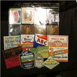 Group of Mint bottle labels: Blue Ridge Ginger Ale; Gee-Bee Brand Orange Cider; Paris Champagnet Dry