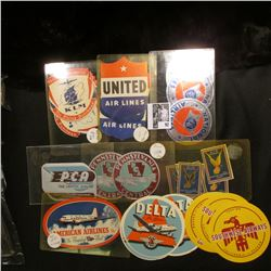 Large group of Stickers or Labels from various Air Lines from years ago. Includes United Air Lines,