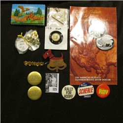 """Pin-back with Crown beneath dog; """"Iowa"""" Magnet with deer and eagle; brochure of Buffalo coin; severa"""