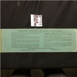 "1948 Booklet with attached One Dollar Certificate ""Dewey-Warren Dollar Certificate Fund""."