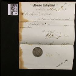 Dec. 19th, 1863 Mohawk Valley Bank letter signed by the Cashier L.H. Pomeroy & 1922 D U.S. Peace Sil
