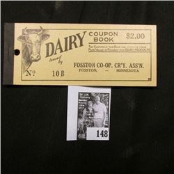 """""""Dairy Coupon $2.00 Book Issued by Fosston Co-op. Cr'y. Ass'n. Fosston, -Minnesota"""", all coupons rem"""