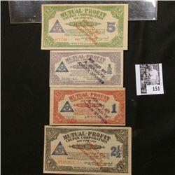 """4-piece Set Depression Scrip 1/2, 1, 2 1/2, & 5 Coupons """"Mutual-Profit Coupon Corporation New York C"""