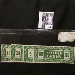 "5, 10, 20, 100 ""The Long Green"" Milton Bradley ""Long Green"" Game Play Money."