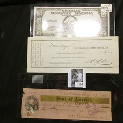 """1877 Bank of America Check from New Orleans, La.; 1881 Pennichuck Water Works, Dr. receipt; & """"Charl"""