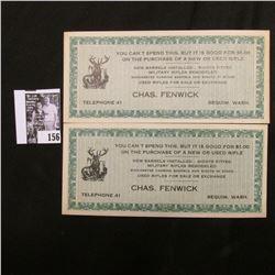 Depression era $1.00 Chas. Fenwick, Squim, Wash., Telephone 41 (Gunsmith for Winchester Rifles)