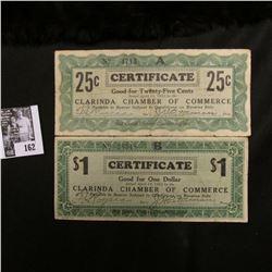 April 10, 1933 25c & $1 Clarinda Chamber of Commerce depression scrip.