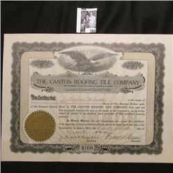"""1911 Stock Certificate Share Number 85 """"The Canton Roofing Tile Company"""", Sparta, Ohio. Eagle c., se"""
