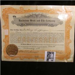 """1926 Stock Certificate Share No. 73 for 2 Shares """"Hardstone Brick and Tile Company"""", Missouri. Doesn"""