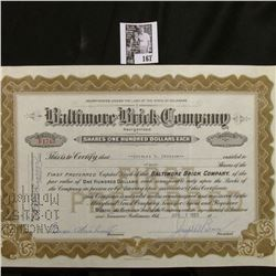"""1955 Stock Certificate Share No. B1743 for 4 Shares """"Baltimore Brick Company"""", Baltimore, Md. Hole c"""