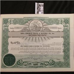 """1964 Stock Certificate Share no. 32 for 50 Shares of """"Iowa Concrete Block & Material Co., Inc."""", Sta"""