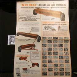 """Large Flyer/Poster """"New Idea Fertilizer and Lime Spreaders"""", excellent condition."""