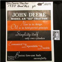 1935 John Deere Model AR Standard Tread Tractor, Moline, Illinois Brochure.