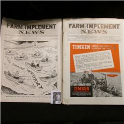 """(6) Different 1939 Issues of """"Farm Implement News"""" Magazines. Some foxing on edges."""