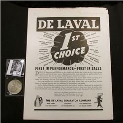 """""""De Laval 1st Choice…The De Laval Separator Company…"""" Full page advertisement; & 1922 P U.S. Peace S"""