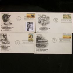 Four-piece set of Agriculture related First Day Covers 1971-74, Mint Condition.