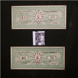 1938 Mt. Carmel Center, Waco, Texas $5 & $10 Trade Currency, CU. Home of the Branch Davidians.