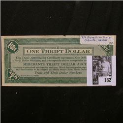 "1932 Depression Scrip ""Merchants Thrift Dollar Auction"", Chanute, Kansas. Uniface."