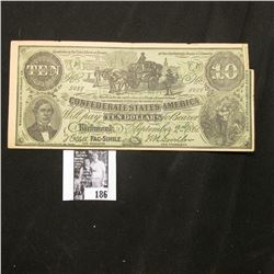 """1861 Confederate States of America Facsimile note with old Advertising """"A vote for Dr. W.F. Skelley"""