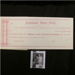 """1860 """"Fractional Share Scrip This Certifies that the bearer is entitled to use this instrument to th"""