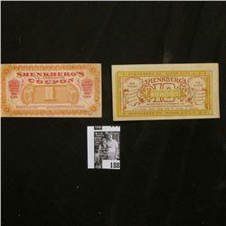 """(1910) """"Shenkberg Co. Sioux City, U.S.A."""" 10c & $1 scrip, CU."""