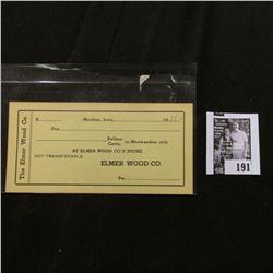"1933 era ""Elmer Wood Co.'s Store"" Moulton, Iowa Depression Scrip, Unissued."
