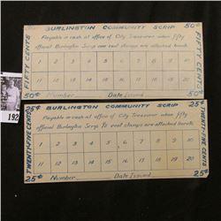 "1933 era Depression Scrip 25c & 50c ""Burlington Community Scrip"", Burlington, Iowa."