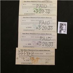 """1933 $1, $5, $10, & $20 """"The Des Moines Clearing House"""" Depression Scrip, Hole cancelled."""
