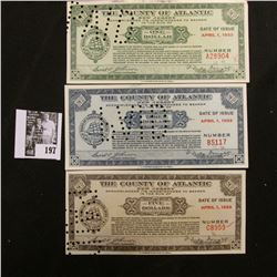 """Depression Scrip """"The County of Atlantic, New Jersey"""" April 1, 1933 $1, $3 & $5. All hole canceled."""