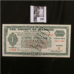 "Nov. 1, 1934 One Dollar Depression Scrip ""The County of Atlantic, New Jersey"", City of Ventnor City,"