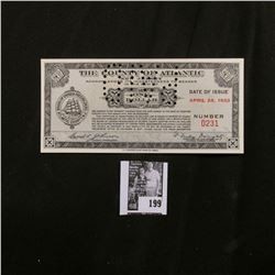 """Depression Scrip """"The County of Atlantic, New Jersey"""" April 26, 1933 $1.00. Hole canceled. CU."""