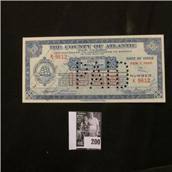 """Depression Scrip """"The County of Atlantic, New Jersey"""" Feb. 1, 1933 $5.00. Hole canceled. CU."""