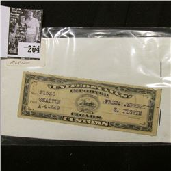 Series of 1910 United States Imported Cigars Customs Stamp, Port Seattle.