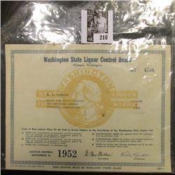 "October 1, 1951 ""Washington State Liquor Control Board Olympia, Washington"" issued to ""Black and Whi"