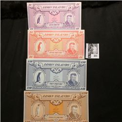 """L1, L5, L10, & L20 """"Jason Islands Set of CU Banknotes. Len Hill depicted."""