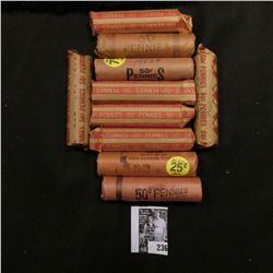 (10) Rolls of U.S. Memorial Cents, several of which are BU. All in paper wrappers and unchecked by m