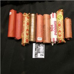 (8) Rolls + a partial Roll of U.S. Wheat Cents, includes a BU roll 1956D, 58P, & 58D. Others dat bac